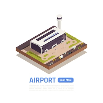 Illustrazione isometrica dell'aeroporto con la costruzione di strade e terminal