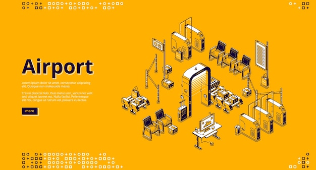 Airport isometric landing page with passenger waiting area