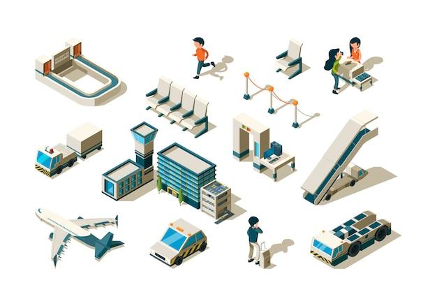 Аэропорт изометрический. терминальное оборудование контроля безопасности пассажиров багажная лестница, входная станция, прибытие, сервис, сбор.