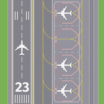 Airport landing airstrips. airplane transport, runway for aviation, vector illustration