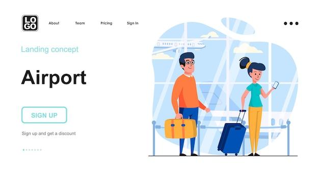 人のキャラクターと空港の着陸ページテンプレート