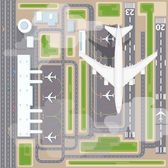 Вид сверху взлетно-посадочной полосы аэропорта. самолет и самолет, прилет, транспортная авиакомпания. векторная иллюстрация посадки в аэропорту