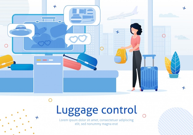 Airport luggage control flat   banner