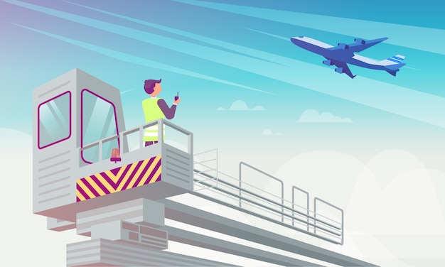 Airport manager looks at plane flat illustration.