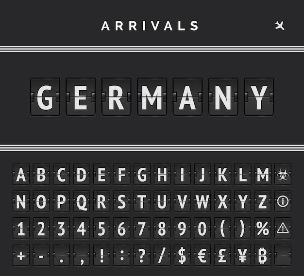 Airport mechanical board flip font with triple line markup and arrivals destination in germany