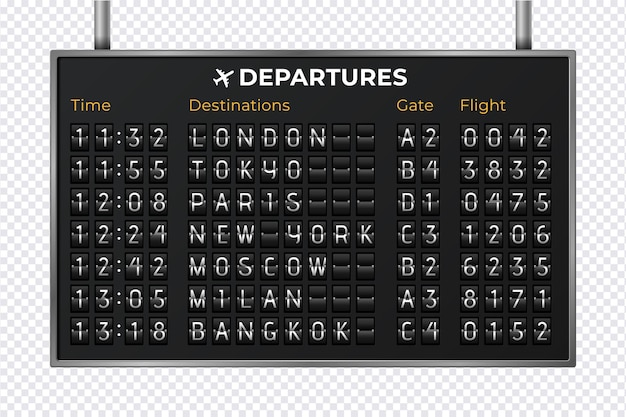 Airport mechanical scoreboard. realistic equipment board message departures and arrivals flight. flipping departure countdown. vector illustration