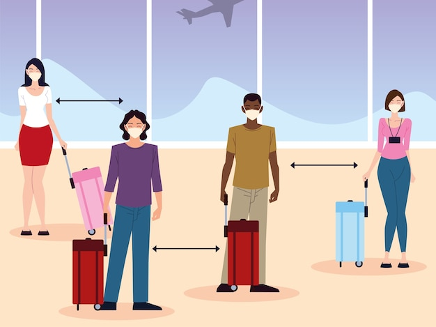 Airport new normal, group people social distance between passengers
