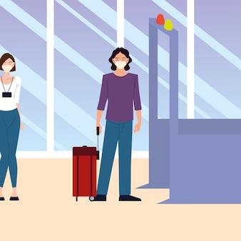 공항의 새로운 정상, 사람들은 의료 마스크를 착용하고 티켓 카운터 대기열에서 거리를 유지합니다.