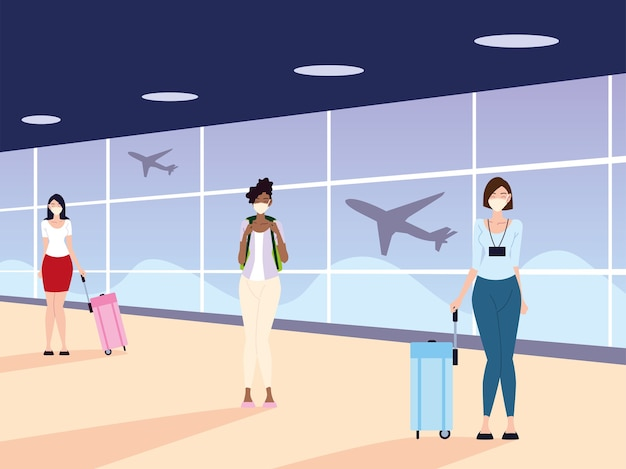 Airport new normal, women with masks and physical distancing