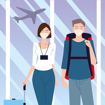 Airport new normal, young couple with masks backpack and suitcase