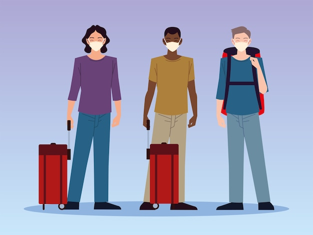 Airport new normal, young men characters travelers with masks and luggage