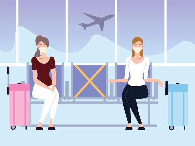 사회적 거리를 두는 대기 비행을 가진 공항 새로운 정상, 젊은 여성