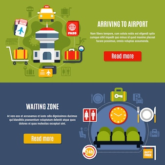 Airport online information service banner set
