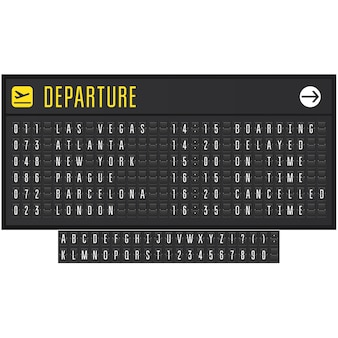フリップシンボル付きの空港または鉄道の現実的なスコアボード-出発ボード