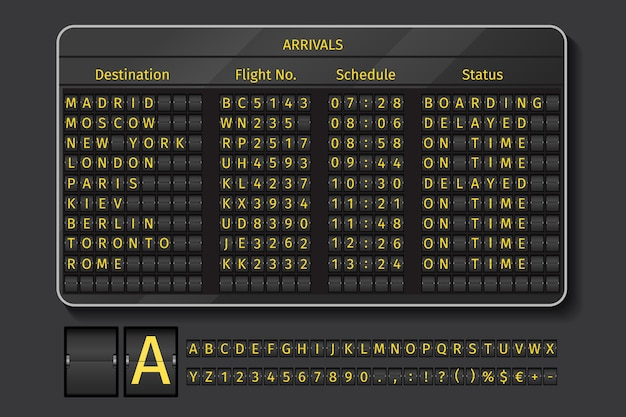 Табло аэропорта или железной дороги. отображение аэропорта, информация с расписанием, векторные иллюстрации