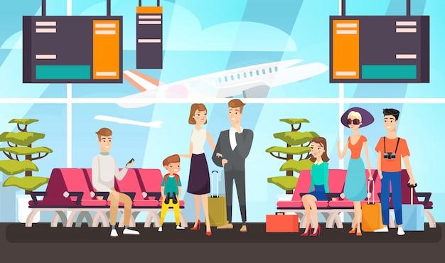 Пассажиры аэропорта, ожидание рейса плоской иллюстрации. путешественники сидят в зале вылета. мультяшные туристы с багажом ожидают взлета самолета. клиенты международных авиалиний.