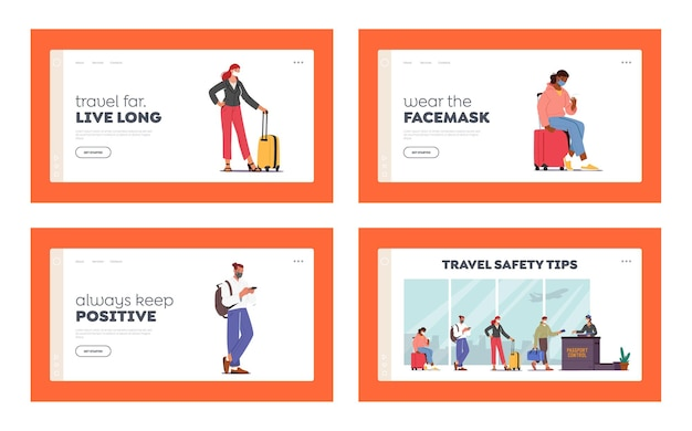 Airport passport control. landing page template set