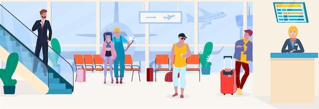Люди авиапорта путешествуют пассажиры в depature комнаты ожидания и иллюстрации обслуживания регистрации.