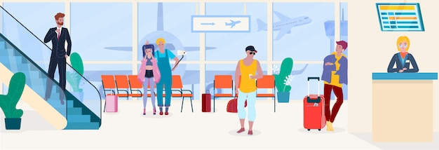 Airport people travel passengers in waiting room depature and registration service  illustration.