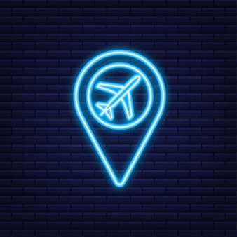 Значок аэропорта для концептуального дизайна. значок точки булавки. символ карты. расположение, дизайн символа значка указателя. неоновая иконка.