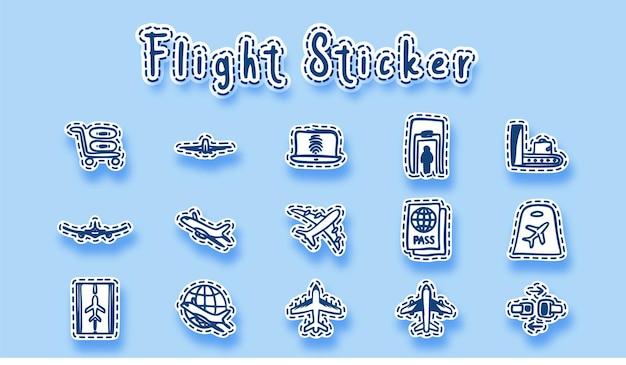 空港の飛行機の線画