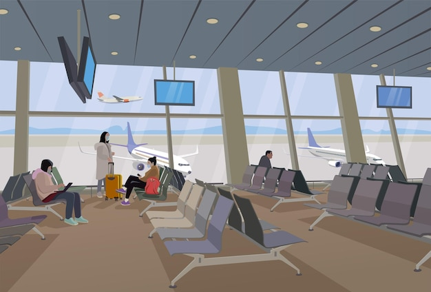 Аэропорт, карантин, режим маски, путешествие, самолет.