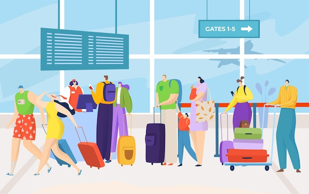 Airport queue for flight, tourist with luggage illustration