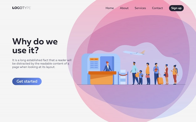 Airport queue illustration. landing page or web template