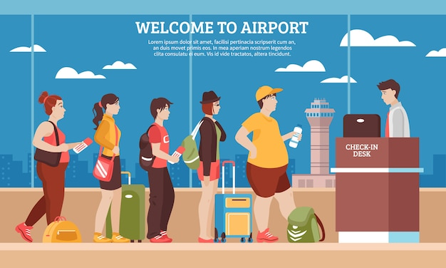 Airport queue illustration Free Vector
