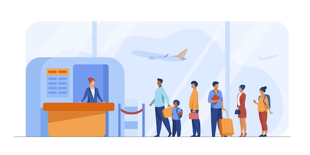 Airport queue vector illustration