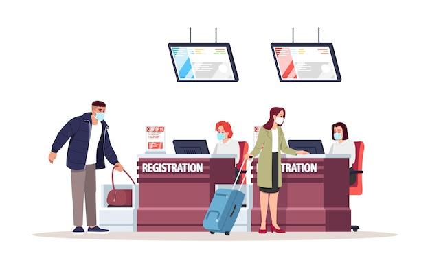 空港登録デスクセミフラットrgbカラーベクトルイラスト。飛行前に医療用マスクを着用した観光客。手荷物のセキュリティ管理。旅行者は白い背景の上の漫画のキャラクターを分離しました