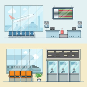 공항 등록 접수 데스크 철도 기차역 티켓 데스크 사무실 인테리어 실내 세트. 선형 스트로크 개요 평면 스타일 아이콘. 색상 아이콘 모음입니다.
