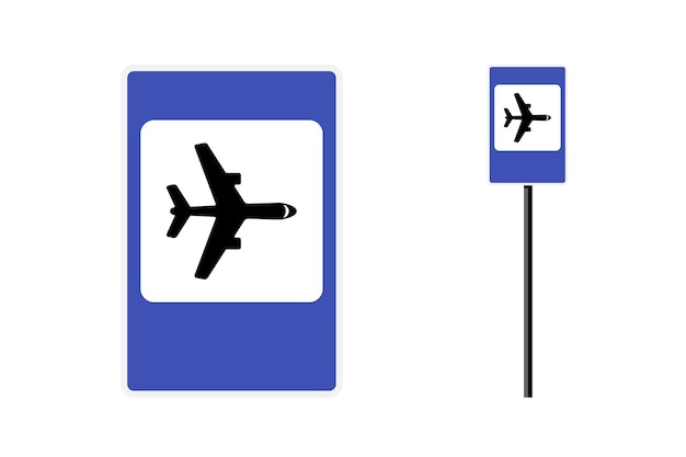 Airport road sign. airplane traffic icon on blue square board. vector roadsign illustration