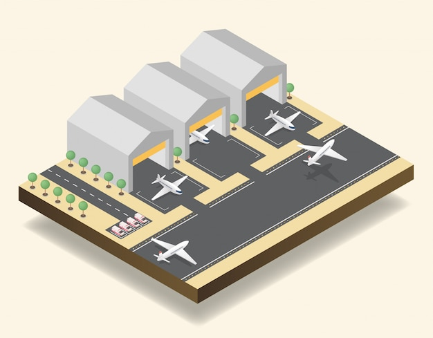 Airport runway, airfield isometric vector illustration