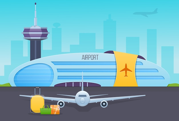 Airport, runway with airplanes, airport building, exterior of building.