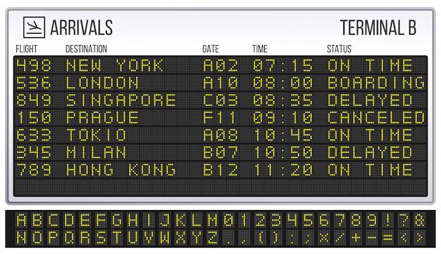 공항 점수 판. 디지털 led 보드 글꼴, 도착 및 출발 표지판 현실적인 그림