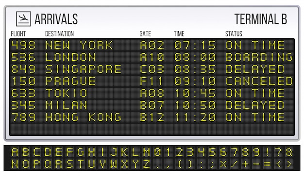 Airport scoreboard. digital led board font, arrivals and departures signs realistic  illustration
