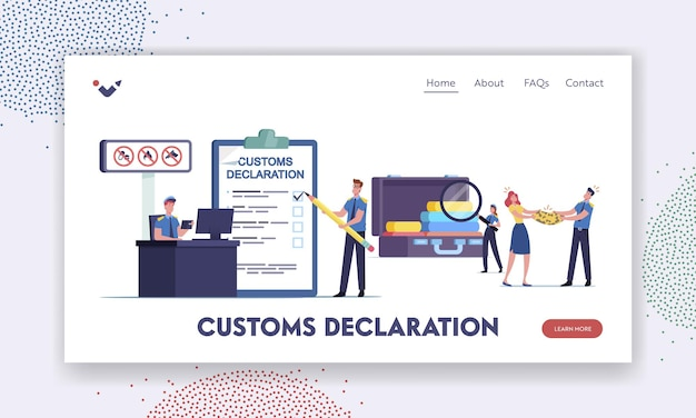 Airport security landing page template. tiny customs officer characters filling customs declaration and check passenger baggage confiscate illegal forbidden things. cartoon people vector illustration