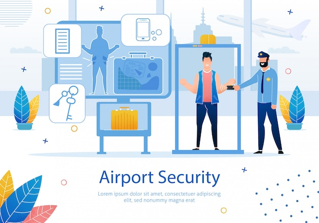 Airport security service flat vector ad banner