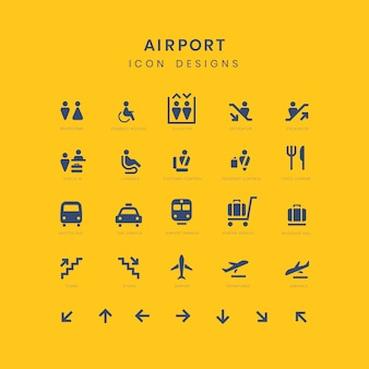 Airport service signs vector set