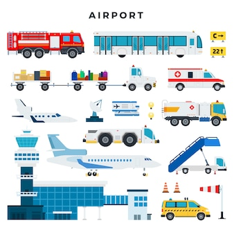Airport, set of icons. airport building, control tower, aircraft, vehicles of the airport ground services