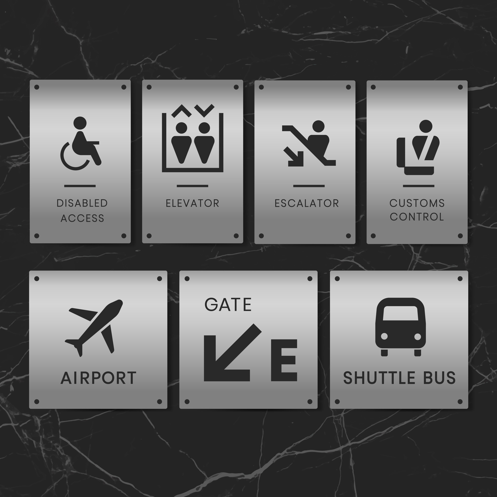 Airport signs icon vector set
