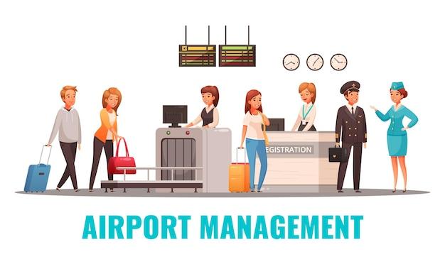 공항 직원 및 등록 데스크의 승객 및 수하물 스캐너 만화
