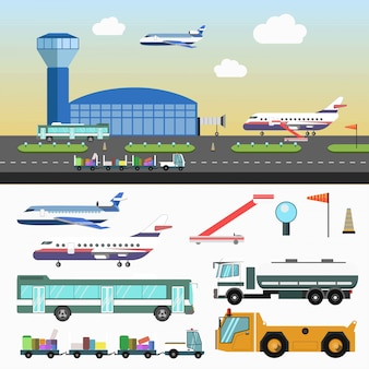 Airport structure and special vehicles set on white