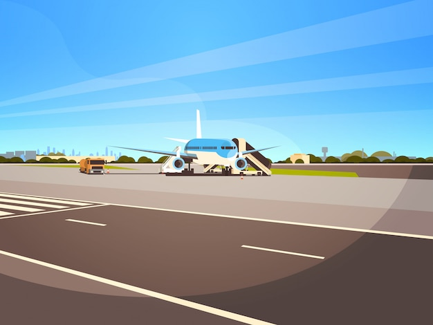 空港ターミナル航空機の飛行機が乗客の街並みのイラストに搭乗するのを待って離陸