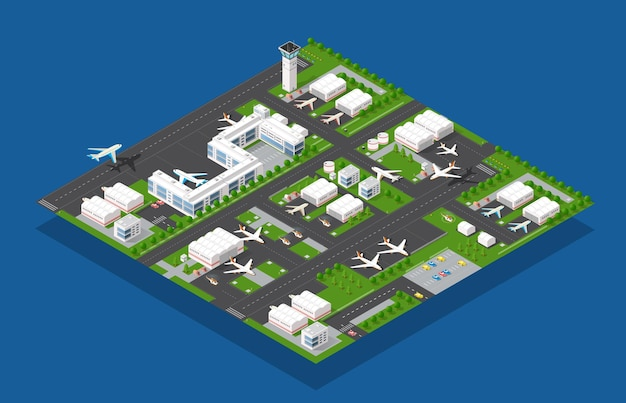 Airport terminal for arrival and departure of aircraft and passengers traveling