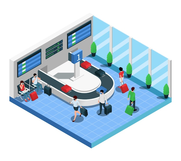 Airport terminal arriving passengers baggage reclaim area isometric composition
