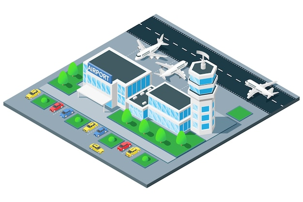 Airport terminal birds eye view isometric composition with traffic control tower airplane