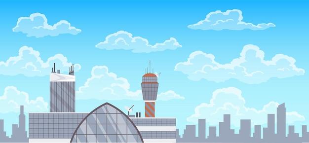 공항 터미널 건물, 관제탑, 그리고 배경의 도시 풍경. 여행 및 관광 개념, 여객 항공 운송을 위한 인프라.