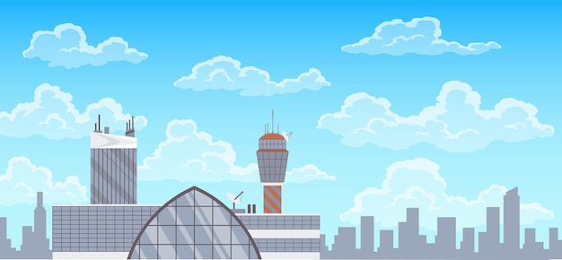 Airport terminal building, control tower and city landscape on background. infrastructure for travel and tourism concept, passenger air transportation.
